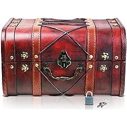 Brynnberg - Caja de Madera Cofre del Tesoro con candado Pirata de Estilo Vintage, Hecha a Mano, Diseño Retro 32x25x19cm