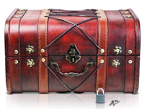 Brynnberg Scrigno del tesoro con lucchetto vintage Bauletto stile antico per accessori gioielli oggetti di valore, Cassaforte in legno, Idea regalo decorativa 32x25x19cm