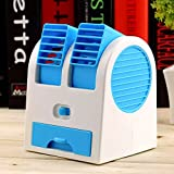 Macngrid® Mini Portable USB Air Cooler Portable Desktop Dual Bladeless fan Air Conditioner Powered by USB/Battery - Best for Kitchen, Office Desk, Room