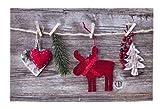 Weihnachten Frohe Weihnachten Elch Fussmatte Fußmatte Sauberlaufmatte Türfußmatte Fußabstreifer Fußabtreter Türmatte Motivfußmatte ca. 40 x 60 cm
