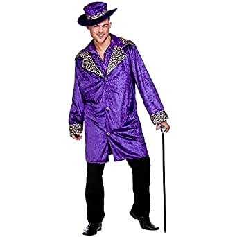 (S) Mens Pimp Daddy Costume for 70s Disco Pop Rock Fancy Dress Mans Male