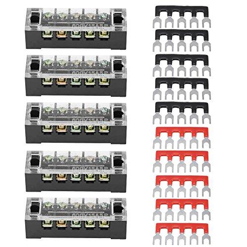Keenso Schraubklemmenleiste mit 5 stücke zweireihig 5 positionen 600 v 15a + 10 vorisolierte terminal barrier strip 5 stück