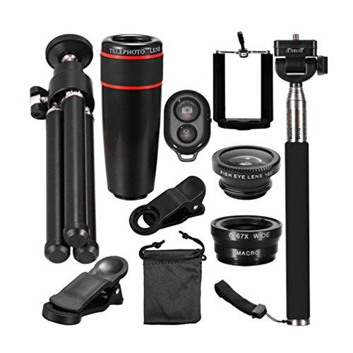 Allcaca 4in 1HD camera Lens kit professionale fotocamera del telefono set di lenti obiettivo Phone clip-on kit con selfie stick, treppiede e scatto remoto Bluetooth, nero