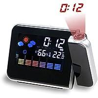 Hangrui Reloj Despertador, Despertador proyector Despertador Digital con Temperatura Interior/LED Alarma/Puerto de Carga USB/Negro