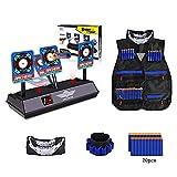 Electronic Digital Target, Kids Tactical Vest for Nerf Gun N-Strike Elite Series -Refill Bullets,Tactical Vests, Face Masks,Wrist Bands& Auto-Reset Intelligent Light Sound Effect Scoring Targets