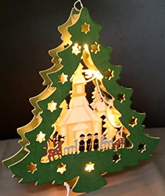 Weihnachtsdeko Weihnachtsbaum Schwibbogen aus Holz Handarbeit Leuchtet von Oramics bei Lampenhans.de