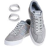 MAXXLACES Flache elastische Schnürsenkel mit einstellbarer Spannung in verschiedenen Farben Schuhbänder ohne Binden komfortable Schuhbinden einfach zu bedienen (Silber - Weiss)