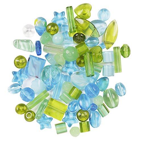75g gemischte Glas-Gepresste Glas Perlen, Größe 6mm – 30 mm, in verschiedenen Formen für Schmuck und Bastelarbeiten, (Aqua / Grün)