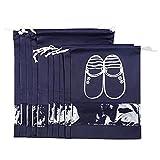 Maomaoyu Lot de 10 Sac à Chaussures de Voyage de Rangement Antipoussière,Respirant,Imperméable avec Cordon et Design de Fenêtre Transparent Idéal pour Le Voyage Accueil Bleu Foncé (5 * L + 5 * M)