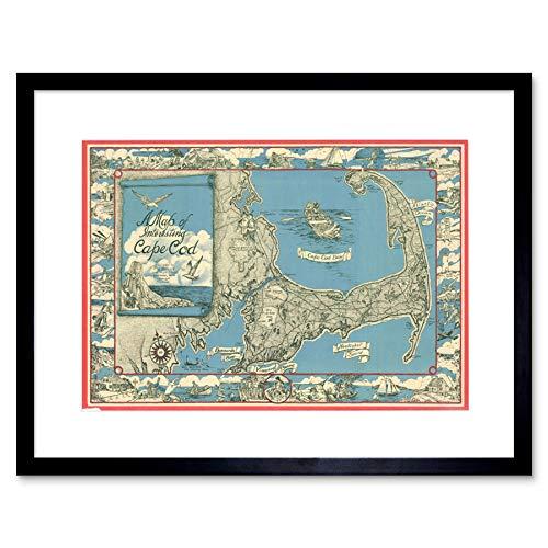 MAP ILLUSTRATED ANTIQUE MILLER CAPE COD FRAMED ART PRINT B12X4965
