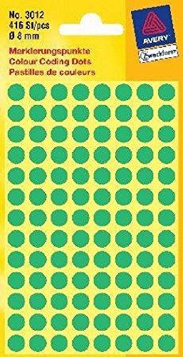 3012 Pastilles adhésives, diamètre 8 mm, 4 feuilles/416), contenu de (vert la livraison : 2)