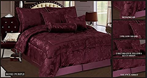 Luxurious Jacquard King Size 7 Piece Comforter Set, Bedspread with 2 Pillow Shams (ROSE PURPLE)