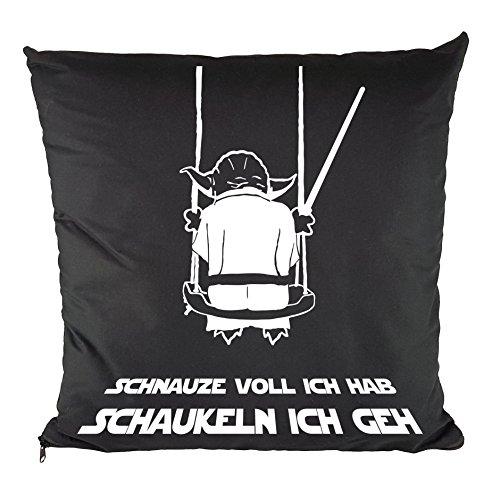Nukular Kissen inkl. Füllung Motiv (Yoda Schaukeln) - 37cm x 37cm - 100{482d135750d8673fde09af9b979a5a7b6ee43e8a566103a38c7bfd0f5db0ee61} Baumwolle - Dekokissen - Geschenkidee