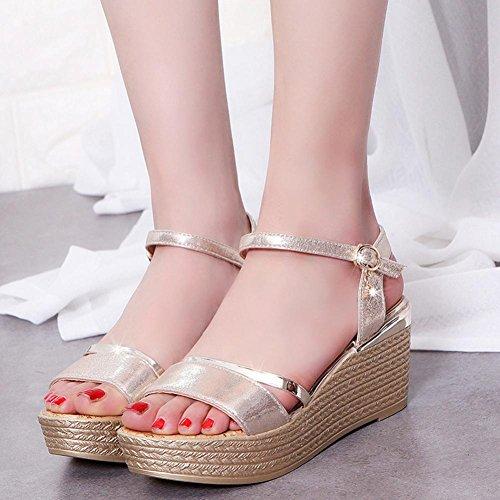 Amlaiworld Estate muffin scarpe semplici Pesce testa donne sandali Pesce testa donne sandali oro