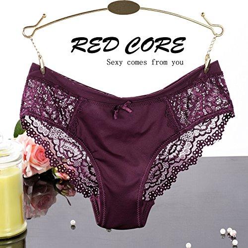 RRRRZ* 3 spitze Ecke und sexy Unterwäsche Hosen weiblichen Transparente Versuchung, flaches anstelle von Unterwäsche, M, Plum Purple (Billig Krankenschwestern Kostüme)