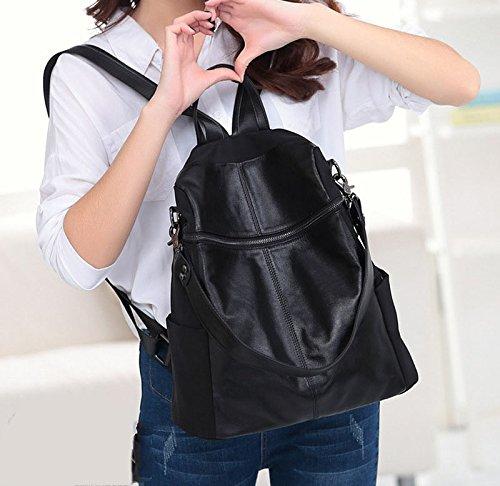 1 x rucksack f r frauen schwarz multifunktionale tasche handtasche brotbeutel. Black Bedroom Furniture Sets. Home Design Ideas