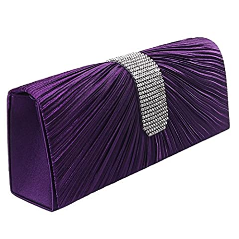Womens Satin Diamante Ladies Pleated Bow Wedding Bridal Prom Handbag Clutch Bag (Purple)