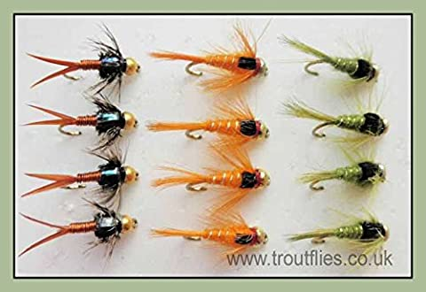 Gold Bead Nymph Trout Flies, 12 Pack, Copper John, Olives & Orange, Size 10/12