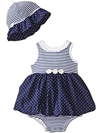 Little Me Baby-Girls Newborn Daisy Dots Popover Dress and Hat, Navy/Multi, 6 Months