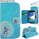 Rosa Schleife® Cover Case for Samsung Galaxy S3 Mini PU Leather Case Flip Stand Cover TPU interior Wallet Functional case with card slots and Cash slot (Dandelion Blue Base)