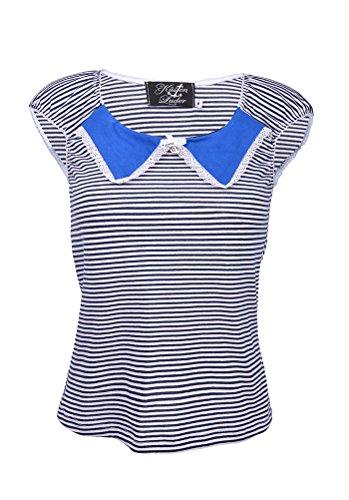 Küstenluder Pin Up TAMMIE Sailor COLLAR Streifen TOP Shirt Rockabilly Blau / weiß gestreift, blau