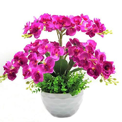 SISHUINIANHUA Farfalla Orchidea Fiori Decorativi e Ghirlanda di Fiori Artificiali Bonsai Set Fiori Finti Alberi con Vaso,b