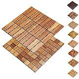 Holz-Wandverkleidung Holzmosaik Fliese 28x28cm I Teak I nachhaltige EchtHolz Wand-paneele I Moderne Wanddekoration, Fußboden & Decke (30x93mm)