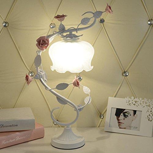 Bauernhaus Stil Tischlampe Mit rosa Keramik Rose Dekoration Schlafzimmer Nachttischlampe Schreibtisch Lampe für Schlafzimmer Badezimmer Baby Room Baby , Weiß