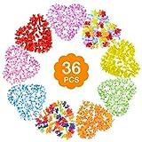 Set di collana di fiori hawaiani da 9 pezzi - Collane di fiori Luau hawaiane + Braccialetti di ghirlande + Collana con fascia per capelli, Perfetta per la festa alle Hawaii, Ghirlanda di Luau
