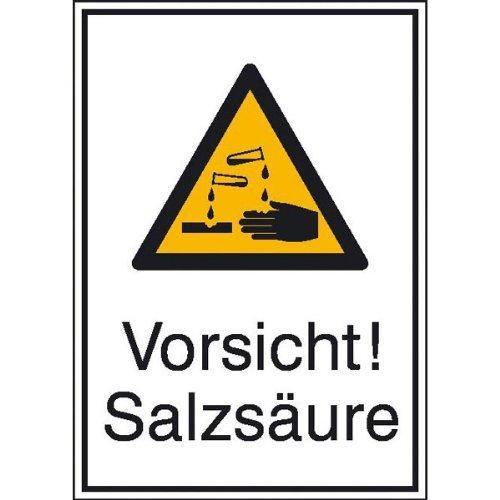 Preisvergleich Produktbild Vorsicht! Salzsäure Warnschild, selbstklebende Folie, Größe 13,10x18,50cm