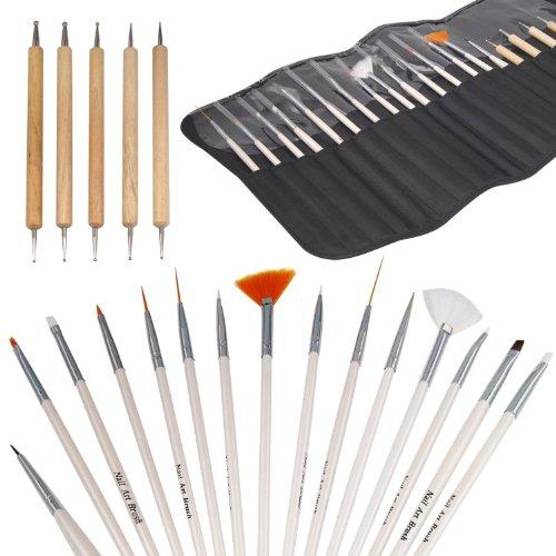 TRIXES Kit Pro 20 pièces Nail Art Design pinceaux détail & kit de finition pour pois