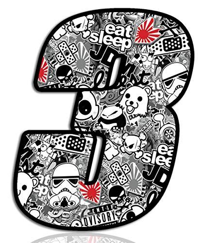 Startnummer Nummern Auto Moto Vinyl Aufkleber Stickerbomb Weiß Motorrad Motocross Motorsport Racing Nummer Tuning 3, N 343