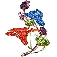 L'oro JewelleryClub Giglio Spilla Fiore colorati placcati in cristalli Swarovski Elements grande spilla per le donne