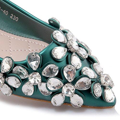 AllhqFashion Damen Pu Leder Niedriger Absatz Spitz Zehe Eingelegt Ziehen Auf Flache Schuhe Grün