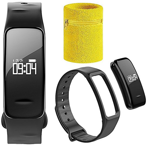 Atlanta Fitness Armband Tracker mit Blutdruck Blutsauerstoff GPS Herzfrequenz Pulsmesser Schrittzähler Smartwatch Uhr mit Schweissband 9700 SB