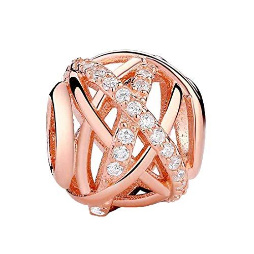Kiss mesterling Silber CZ Kristall Perlen Charm für Armbänder Rose Gold Perlen