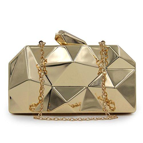 Womens Diamant förmige Taschen Handtaschen Flada Eisen Kupplungen Grau Metal Abend Box einfache Gold RZaqaWId
