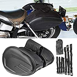 Alforjas para Motocicletas, Bolsa de sillín para motocicleta Resistente al agua Impermeable PU Tela de Oxford Caja de fibra de carbono Asiento de motocicleta exterior Bolsa de sillín