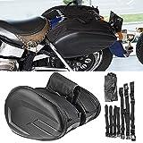 Alforjas para Motocicletas, Bolsa de sillín para motocicleta Resistente al agua Impermeable PU Tela...