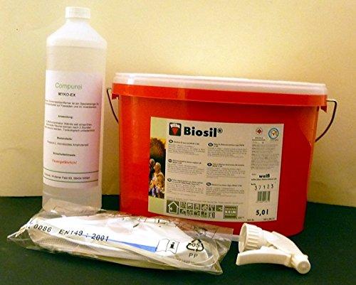 Komplett Set Schimmelpilzentferner: KEIM Biosil Silikatfarbe / weiß / 5 Liter + Myko-Ex Schimmelentferner + Maske