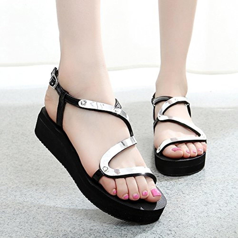 HAIZHEN Frauenschuhe Sommer Flache Sandalen Fashion Student Schuhe Anti-Rutsch-Schuhe Für Gold/Siliver Für Frauenö