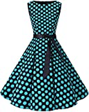 bbonlinedress 50s Retro Schwingen Vintage Rockabilly Kleid Faltenrock Black Blue Big Dot M