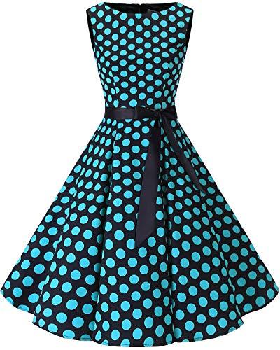 (bbonlinedress 50s Retro Schwingen Vintage Rockabilly Kleid Faltenrock Black Blue Big Dot 3XL)