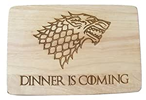 GAME OF THRONES GIFT IDEA GOT BAMBOO WOOD CHOPPING CUTTING CHEESE BOARD PLACE MAT DINNER IS COMING WOLF WINTER LION ENGRAVED WOODEN NOVELTY WOOD KITCHEN COOKING BAKING BIRTHDAY PRESENT WOODEN WEDDING LASER ENGRAVED by FASTCRAFT UK (Premium Hardwood 24x17x1.5 cm)