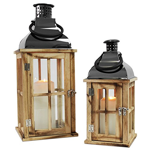 Multistore 2002 2tlg. Holz Laternen-Set mit Metalldach H48/34cm Gartenlaterne Holzlaterne Windlicht mit Henkel Holzgestell mit Glasfenstern Kerzenhalter