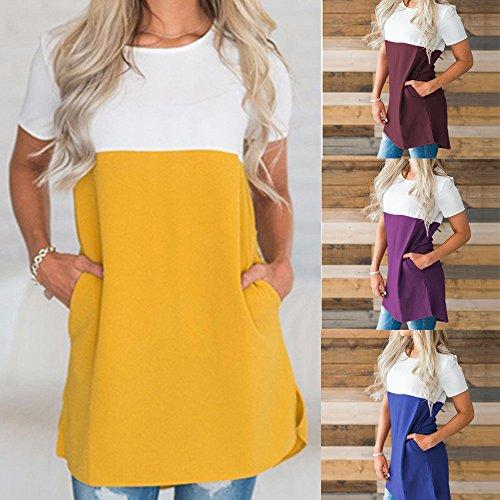 Damark(TM) Women T-Shirt Ladies Stitching Chiffon Short Sleeve Summer Tops Clothes For Women Shirts Blouse Sale Clearance