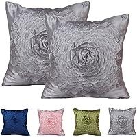 PLANDV Funda de Almohada Decorativa Floral Sólida de 2 Colores, en Diferentes Colores 40x40cm (Pattern 3 Grey)