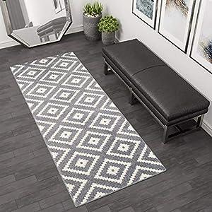 Tapiso LÄUFER BRÜCKE Flur Teppich - Muster KARO MODERN IN GRAU WEIß 120 x 50 cm