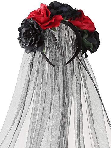 Rose Stirnband Floral Crown Blume Schleier Kopfschmuck für Tag der Toten Halloween Kostüm (Rot und Schwarz)