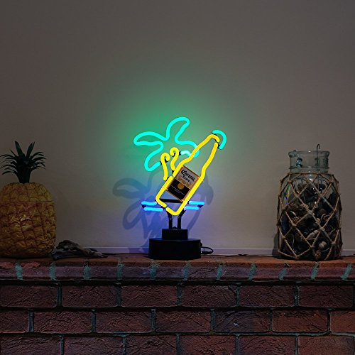 Icon Neon Corona Flasche und Palme, echte Neon-Beleuchtung, mehrfarbig (Extra Corona Glas Bier)